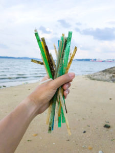 Plastic Straws on Beach