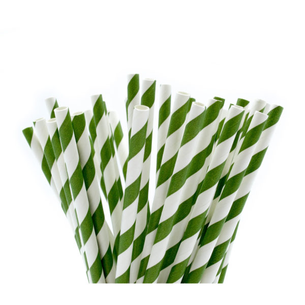 Green & White Striped Paper Straws