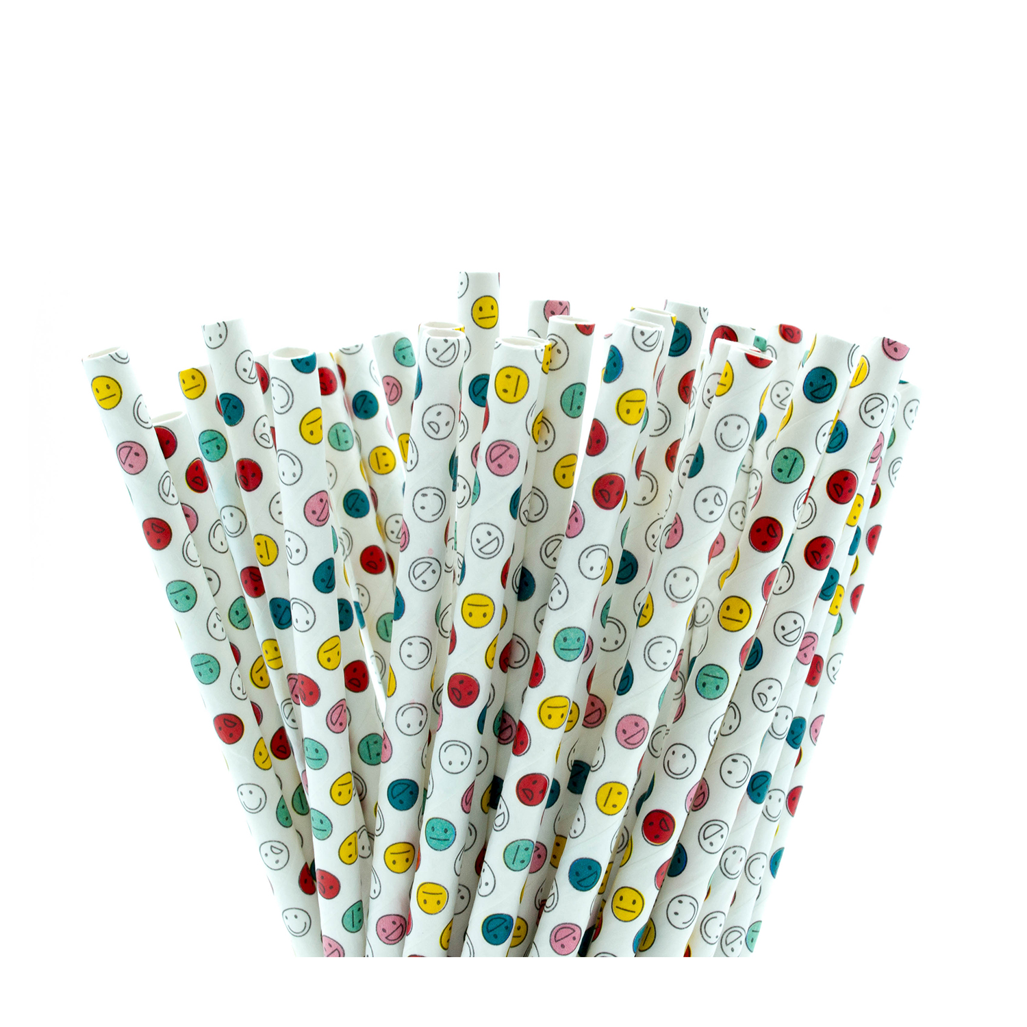 Smiley Faces Emoji Paper Straws