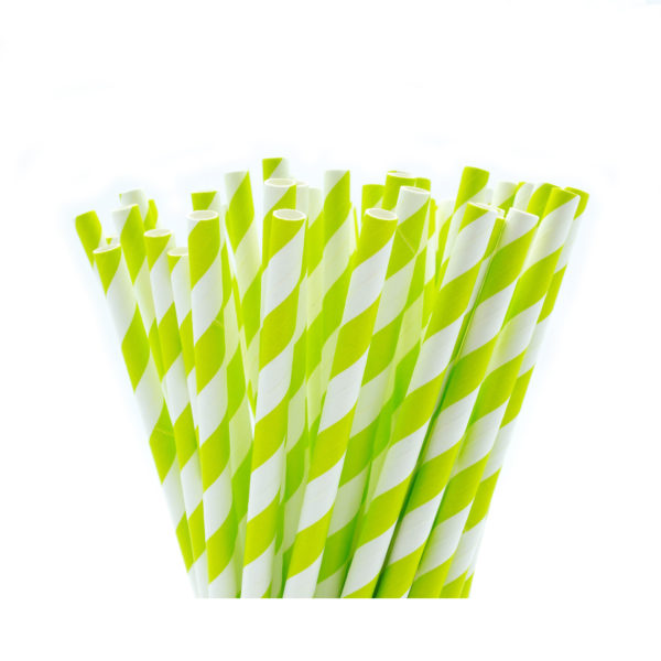 Light Green & White Striped Paper Straws