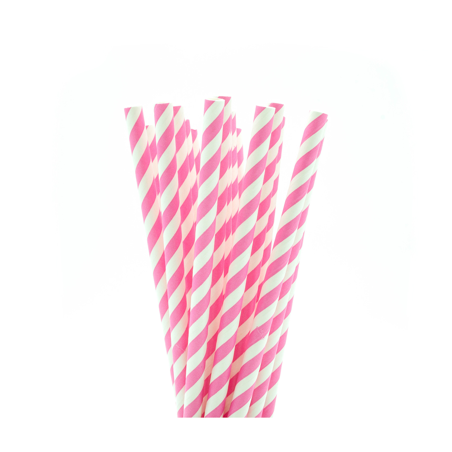 Light Pink & White Striped Paper Straws