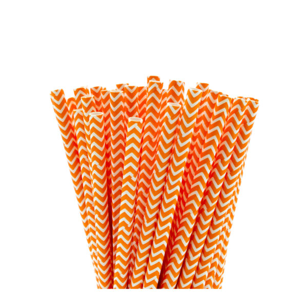 Orange Zig-Zag Paper Straws