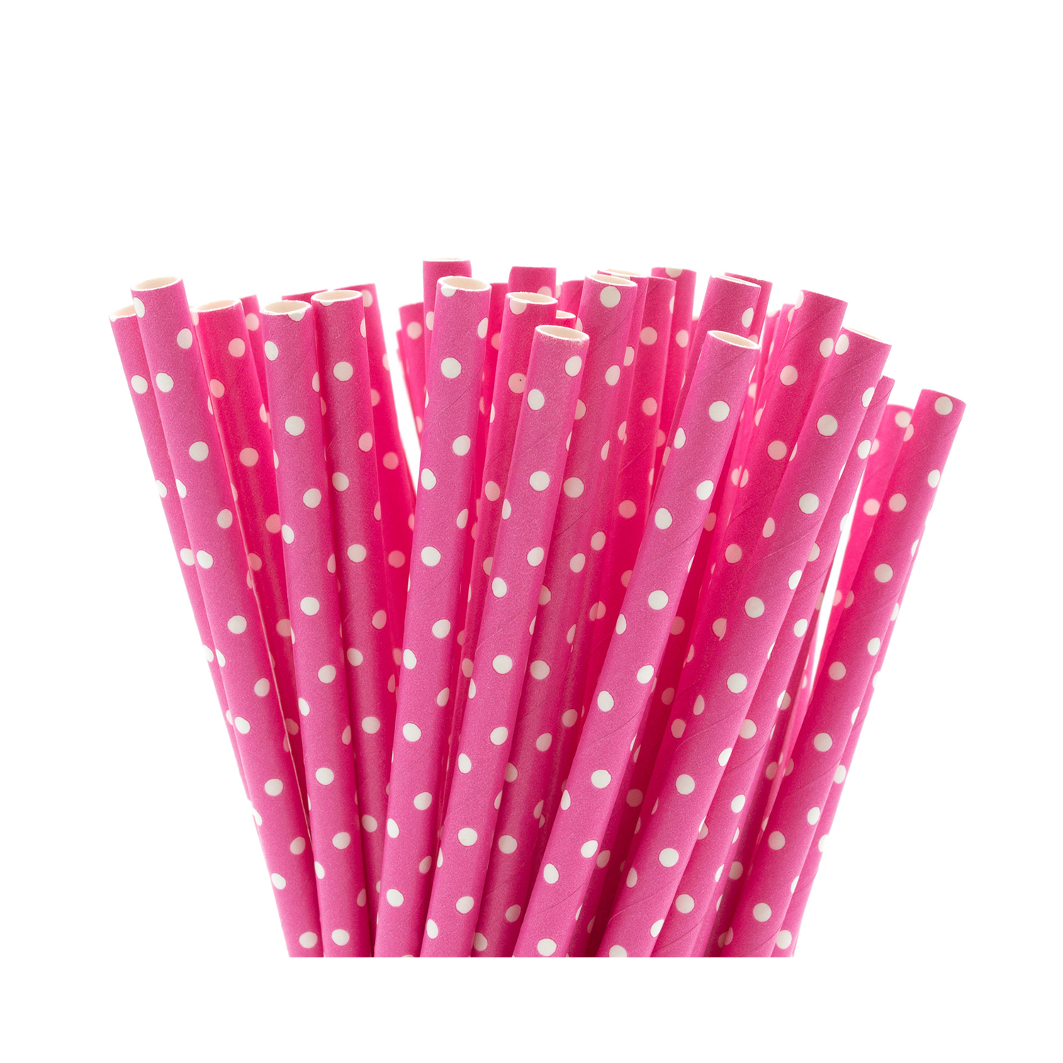 Pink & White Dotty Paper Straws