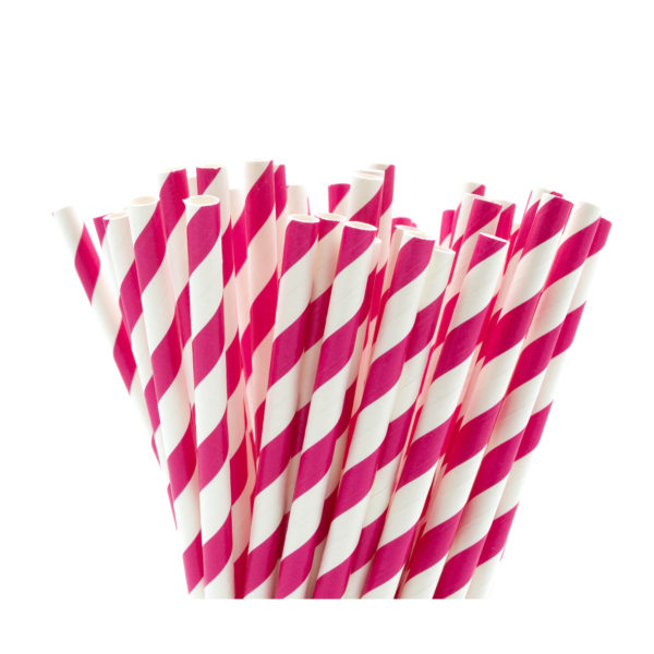 Pink & White Striped Paper Straws