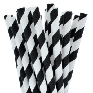 Black & White Striped Paper Milkshake Straws