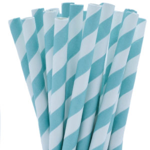 Blue Striped Milkshake Straw