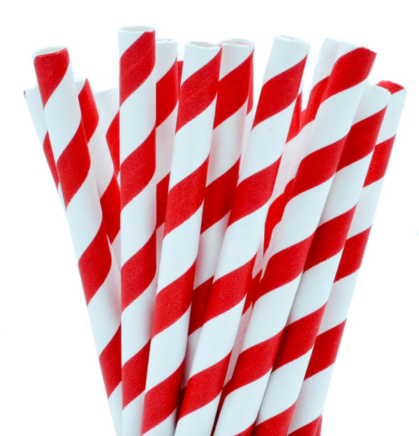 Red Striped Paper Smoothie Straws