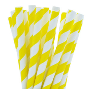 Yellow Stripe Paper Smoothie Straws